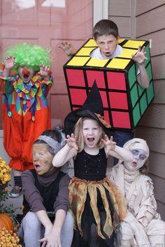 kids Halloween costumes. I like the Rubik's cube!