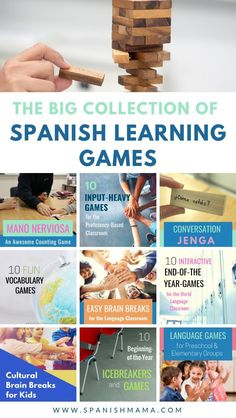 Who else loves teaching Spanish with games? Mix it up in class with this huge library of games, with something for everything from young kids to adults! These were written for the Spanish classroom, but would work for any world language classroom. Spanish Teaching Resources, Spanish Language Learning, Language Games For Kids, Spanish Vocabulary Games, Spanish Games For Kids, Teaching Ideas, Spanish Basics, Spanish Lessons, Jenga