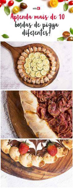 """O pizzaiolo Davi Leão, experiente profissional, vai ensinar como preparar pizzas com bordas. Recheadas, com diferentes sabores, e decoradas, com os mais variados estilos, o profissional vai te ensinar a elaborar dobras distintas, como a """"falsa"""", a tortilha, a trançada, a esfiha, a pãozinho, a vulcão, a escamada, a caracol e a sol. Ao todo serão 12 modelos diferentes de bordas, com e sem recheios doces e salgados, além de massa macia, ideal para esse tipo de acabamento!"""