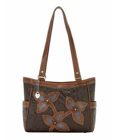 American West Chocolate & Distressed Denim Sweet Blossoms Leather Shoulder Bag by American West #zulily #zulilyfinds