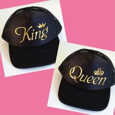 King and Queen Trucker Hats. Set of Wedding Caps.  Anniversary Gift. Wedding Gift. Mr and Mrs. Matching Hats. Snapback Cap. Photo Prop. by SoPinkUK on Etsy