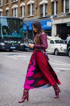 LFW Street Style - long red - pink skirt & oxblood leather jacket - bold tonal monochrome combo