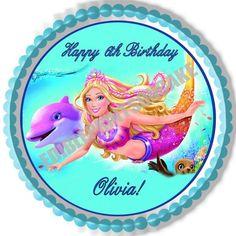 Barbie Mermaid Edible Birthday Cake Topper OR Cupcake Topper, Decor