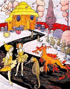 Sea FAIRIES & Seahorses. Rare FAB Art DECO Sea Sprite Illustration. Digital Fairy Download. Vintage Mermaid Fairy Tale.