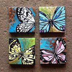 Bluebird Painting Mini Canvas Easel, Mini Bluebird Artwork, Original Bird Canvas Art, Bluebird Home Decor, Acrylic Bluebird Painting Small Canvas Paintings, Small Canvas Art, Mini Canvas Art, Small Paintings, Nature Paintings, Painting Canvas, Photo Canvas, Butterfly Acrylic Painting, Butterfly Canvas
