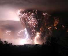 Dirty thunderstorm above Chaiten volcano in Chile