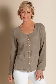 Textured Gauze Top - Women's Gauze Shirt, Cotton Gauze Shirt | Soft Surroundings