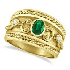 Almost identical to my fave ring ever that was stolen a few years back. I'm on a quest to find it! Etruscan / Byzantine YG with emeralds & diamonds. Love!!
