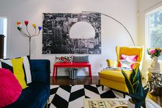 The Creative, Bold & Colourful Home of Paola Roder - The Interior Editor Living Room Designs, Living Room Decor, Colourful Living Room, Bright Rooms, Funky Furniture, Modern Interior Design, Colorful Decor, White Walls, Apartment Living