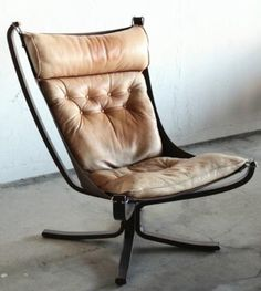 Danish leather sling falcon chair by Sigurd Ressell for Vatne-mobler
