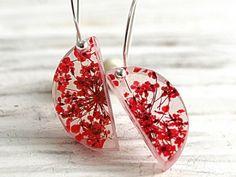 Real flower sterling silver semi circle earrings