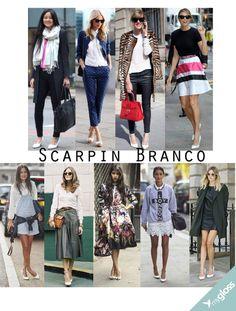 O Scarpin branco  voltou com tudo. É só conferir por ai, em capas de revistas e nos pés das famosas. Curte?