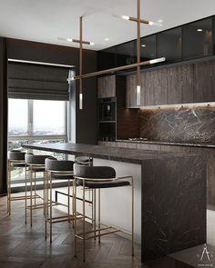 Luxury Kitchen Design, Kitchen Room Design, Home Room Design, Home Decor Kitchen, Interior Design Living Room, Home Kitchens, Kitchen Rules, Apartment Kitchen, Kitchen Ideas