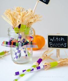 You won't be able to drink out of these straws, but they'll look cute displayed in a Mason jar or vase, or even on a dining or buffet table. They're easy to make, too—tape bunches of raffia strips to the ends of striped paper straws.