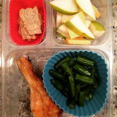 School lunch: #organic #chicken leg, #green #beans, #pear and #cheddar slices and #organic #nongmo #mysupercookies #blueberry #vanilla #heroes. #schoollunch #healthykids #wholefoods #wholegrains #SuperStartsHere