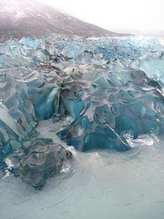blue, texture, ice, shape, glacier, transparent