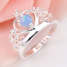 2 Pieces 1 Lot  High Quality 3X Blue Opal Wedding Jewelry Rings Russia Rings Australia Rings 100%Hand Made r0046