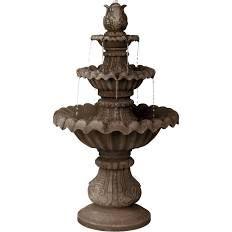 "John Timberland Classic Three-Tier 46"" High Reconstituted Granite Fountain - Style #55376"