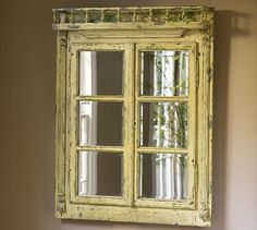 Clemons Window Ledge Mirror Distressed yellow paint shows hints of green beneath ~ I want this for my kitchen so bad ~ Pottery Barn says it's not longer available! Looks like I'm making my own! Window Ledge Decor, Window Mirror, Mirror Mirror, Window Panes, Mirror House, Sunburst Mirror, Room Window, Window Ideas, Pottery Barn Mirror
