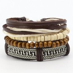4 PCS FASHION VINTAGE FEATHER LEATHER BRACELET FOR UNISEX JEWELRY Bracelet Set, Bracelet Making, Jewelry Accessories, Women Jewelry, Men's Jewelry, Adjustable Bracelet, Vintage Fashion, Beaded Bracelets, Things To Sell