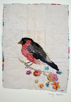 Unframed appliqued bullfinch with embroidery on by MandyPattullo