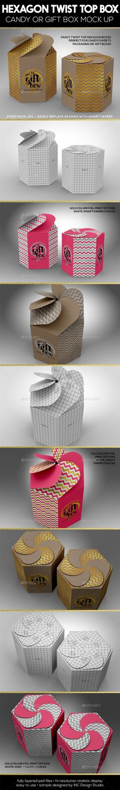 Hexagon Twist Top Candy Gift Box Packaging Mock Ups by ina717 Box Packaging mock ups for Candy, Sweets, retail products or gift boxes 3 PSD mock-ups (see Preview samples �20design not included)
