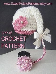 Sweet Potato Pixie Hat - Newborn to 12 months - hand crochet love this hat.it must be made in reverse to achieve the tail. Crochet Kids Hats, Crochet Cap, Crochet Beanie, Love Crochet, Crochet Crafts, Yarn Crafts, Hand Crochet, Crochet Projects, Knitted Hats
