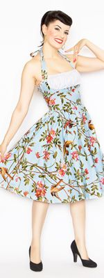 Blue Sparrow Print Frenchie Halter Swing Dress~ I LOVE IT!!!!  1st thing I am going to buy when i get my taxes :D