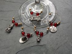 Perfect for all your gatherings. Make sure you know which glass is yours. Mark your glass with Pewter designed charms. Keep the fire down at a party! Mark your wine glass, ... #wine_charms