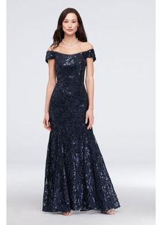 View Sequin Lace Off-the-Shoulder Mermaid Gown Mermaid Gown, Lace Mermaid, Mermaid Dresses, Event Dresses, Formal Evening Dresses, Formal Gowns, Petite Formal Dresses, Evening Gowns, Satin Bridesmaid Dresses