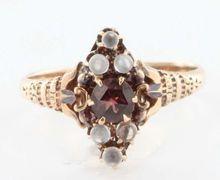Antique Victorian 1 Karat Rose Gold Garnet Rainbow Blue Moonstone Ring Fine Jewelry