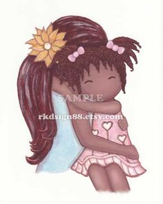 African art childrens kids decor mother and daughter art by rkdsign88.etsy.com