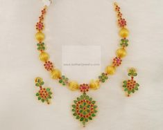 Necklaces / Harams - Gold Jewellery Necklaces / Harams (NK3201RREE) at USD 1,479.26 And EURO 1,367.81