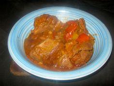 Karoo venison goulash served in a blue bowl Blue Bowl, Goulash, Venison, Deserts, Meat, Chicken, Recipes, Food, Deer Meat