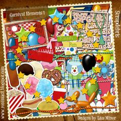 Carnival Digital Scrapbook Kit, carnival scrapbook kit, digital scrapbook kit, instant download, food stickers, pretzel, cotton candy, hamburger, popcorn, corndog, clown, circus tent, balloon animals, family fun, chipboard word art, pattern papers, carnival, festival