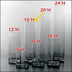 "$7.50/EA - (12PCS) 5""W X 16""H CLEAR GLASS CYLINDER VASES WEDDING WHOLESALE"