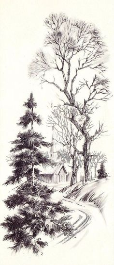 30 New Ideas For Landscape Sketch Nature Pencil Drawings - Art Sketches Tree Drawings Pencil, Pencil Trees, Simple Pencil Drawings, Simple Sketches, Ink Drawings, Landscape Sketch, Landscape Drawings, Drawing Landscapes Pencil, Nature Sketches Pencil