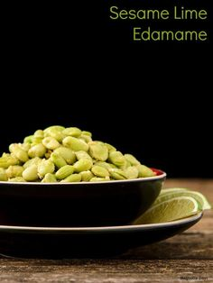 Sesame Lime Edamame with toasted sesame seeds and fresh lime juice and zest. Make it in a few minutes for a delicious side or appetizer. #SundaySupper