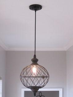 Rustic Large Metal Globe Pendant Light