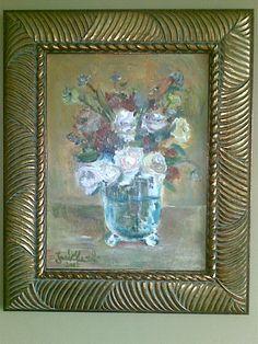 Kwiaty w wazonie - olej na płótnie