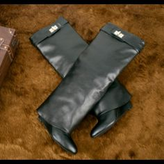 Below knee wedge boots Love these boots please order one size up comes in all sizes great for winter very fashionable!!!!!! These look just like the designer 🎉 Givenchy 🎉 boot.... Looks like but is not 😆😆😆 might take 3 weeks for delivery will do better price on 🅿️🅿️ comes in black red or tan... Ask me a question!!! Givenchy Shoes