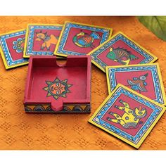Hand painted madhubani tea coaster set from The Color Caravan Madhubani Art, Madhubani Painting, Traditional Paintings, Traditional Art, Elephant Sketch, Tea Coaster, Coaster Design, Indian Folk Art, Diy Coasters