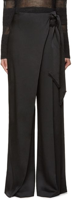 Wide-leg trousers in black. Self-tie belt with frayed edges integrated at wrapped waistband with press-stud and hook-eye fastening. Four-pocket styling. Fashion Pants, Hijab Fashion, Love Fashion, Fashion Dresses, Womens Fashion, Wrap Pants, Skirt Pants, Trouser Pants, Palazzo Trousers
