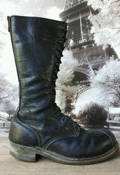 59bd11fdadf Vintage Linesman Tall Boots Size 11 Biker Logger Engineer Black STEEL TOE ○○