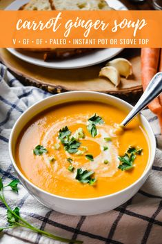 Carrot Ginger Soup (Instant Pot or Stove Top) Carrot Ginger Soup: This carrot ginger soup makes for an easy, healthy and heartwarming winter dish! It's creamy with a subtle spicy kick of ginger, gluten free, dairy free, sugar free and perfect for those on Real Food Recipes, Vegetarian Recipes, Cooking Recipes, Healthy Recipes, Vegan Vegetarian, Carrot Recipes, Healthy Soups, Vegan Soups, Vegan Meals