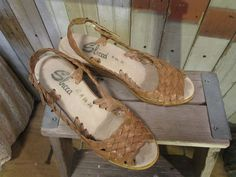 70s Vintage Leather Sandal Sbicca Wedge shoes by funkomavintage