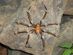 Gold Amber & Pink Glass and Crystal Spider by Jewels In Denial, $15.88