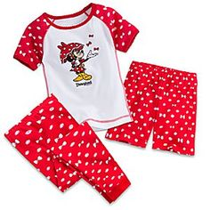Minnie Mouse Three-Piece Pajama Set for Girls - Disneyland | Disney Store Minnie has her umbrella up to protect her from the shower of bows that rain down on this Three-Piece Pajama Set. The coordinating top, pants, and shorts sleepwear feature a red and white print of Minnie's signature polka dots and bows.