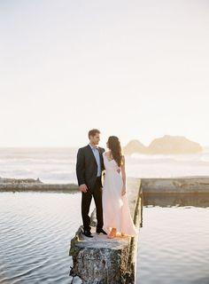 Pale Blush Chiffon Dress   Coco Tran Photography   Styling a High Fashion Engagement Shoot
