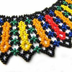 martva natura: Kolia łowicka :) Diy Necklace Patterns, Seed Bead Patterns, Beaded Jewelry Patterns, Beading Patterns, Beading Tutorials, Beaded Necklace, Beaded Bracelets, Beaded Collar, Seed Bead Jewelry